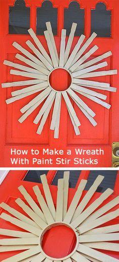 How to Make a #Wreath With Paint Stir Sticks >> http://blog.diynetwork.com/tool-tips/2012/10/31/paint-stir-stick-starburst-wreath/?soc=pinterest-greatwreath