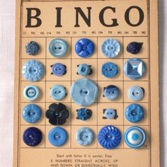 bingo cards, button flowers, button art, vintage buttons, blue button, dream, button crafts, button bingo, sewing rooms