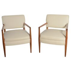 Pair of Mid-Century Chairs By T.H. Robsjohn-Gibbings  USA  Midcentury  Stunning pair of Mid-Century chairs by T.H. Robsjohn-Gibbings, re upholstered in cream colored leather