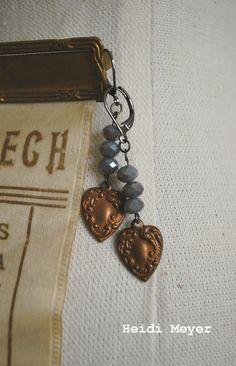Copper heart repurposed earrings