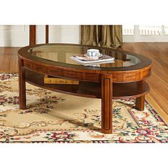 @Overstock - This collection makes a statement with its oval shapes and flamboyant Zebrano veneer characteristics. This gorgeous furniture features an attractive look and classic finish.http://www.overstock.com/Home-Garden/Somerton-Fashion-Trend-Oval-Cocktail-Table/6654897/product.html?CID=214117 $212.99