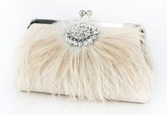 Champagne Bridal Clutch with Rhinestone and Ostrich Feathers 8-inch PASSION. $80.00, via Etsy.