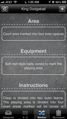 PE games -   https://itunes.apple.com/us/app/pe-games-100+-games-activities/id517433270?mt=8
