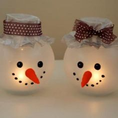 "Snowman candle holder.  Out of those small ""fish bowls"""