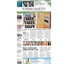 The front page of the Taunton Daily Gazette for Sunday, Sept. 14, 2014.