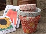 Pretty Pots Decorated With Fabric As Mother's Day Surprise
