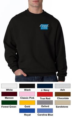 #jerzees #sweatshirt #crewneck #corporate $18.45 Features: Pill-free 50% cotton, 50% polyester NuBlend; double-needle cover-seamed neck, armholes, shoulder and bottom band; seamless body; set-in sleeves; 1x1 ribbed collar, cuffs and waistband with spandex; 9.5-ounce.  http://ezcorporateclothing.com/custom/106-Crewneck-Sweatshirts/887-Jerzees-Super-Sweats-Crewneck/