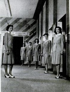 Elevator 'girls' at Marshall Fields department store, Chicago, Illinois, 1947