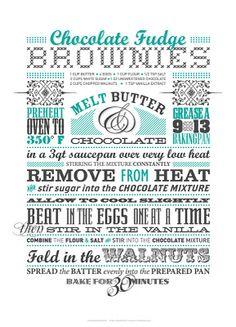 Chocolate Fudge Brownies! Love this recipe card idea!