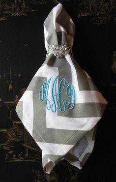 Monogrammed chevron cloth napkins- LOVE!!!