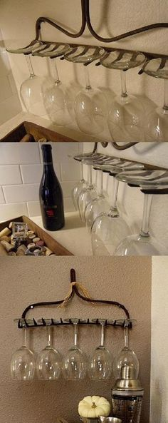 decor, wines, glass holder, idea, glasses, wine glass, diy, wineglass, rustic outdoor bar