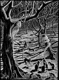Scholastica (Full Moon) - spooky forest with black cats | woodcut, 1931 | M. C. Escher