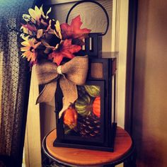 Fall lantern that you can make almost completely with Dollar Tree materials!