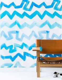Sarah Ellison #Wallpaper. Blue Zigzag