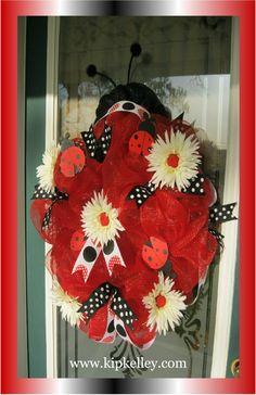 Ladybug Mesh Ribbon Wreath