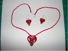 Sweetheart Necklace and Earrings: Use oven bake clay to create the perfect jewelry set for Valentine's Day.