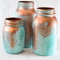 20 Creative Mason Jar Crafts - Decorative Blue Patina Jars decor, blue patina, blue mason jars, masons, copper, metal, mason jar crafts, paint, diy