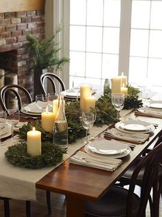 I like this because it's not a tall centerpiece, so you don't have to move it or look around it when sitting at the table.