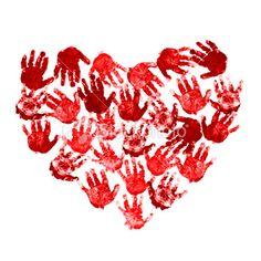 many hearts hand prints