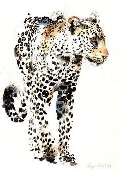"Saatchi Online Artist Lucy Newton; Mixed Media, ""Leopard"" #art"
