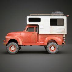 Vintage Camper Truck Vehicles 3D Models