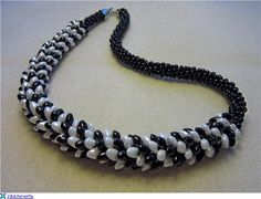 beaded necklace in Kumihimo