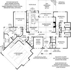 Craftsman Style House Plans - 2305 Square Foot Home, 1 Story, 3 Bedroom and 2 3 Bath, 2 Garage Stalls by Monster House Plans - Plan 24-221