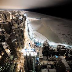 Winter Chicago shoreline at night