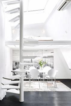stair, white interiors