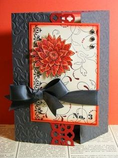 Stampin' Up! ... handmade card ... gatefold with a large panel ... like the colors: red, coral and gray ... Asian fell with beautiful flower ... like the band of punched paper covering the juncture of the two panels ...