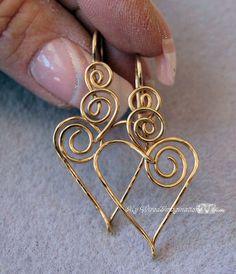 Wire Jewelry Tutorial  - Beginner - Charming Hearts 2 Earrings, via Etsy.