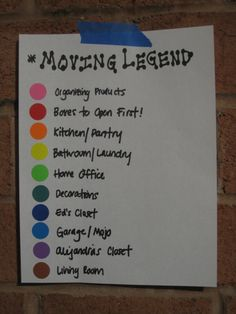 Color Coded Moving Legend #Organize #Organized #Organizing #Organization #Move #Movers #Legends #ColorCode #ColorCoding #HowTo #Tips #Tricks