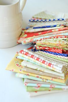 A gorgeous stack of Avalon by Fig Tree Quilts.  Read an interview about collection on the Jolly Jabber.