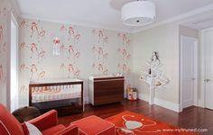 Modern Monkey Themed Orange Nursery