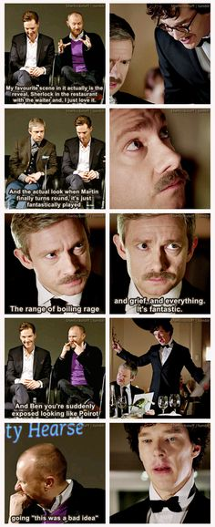 Mark Gatiss on his favorite scene from The Empty Hearse. [GIF-SET --> http://legendofsherlock.tumblr.com/post/73695864109/what-was-your-favourite-scene-to-film-in-the-first ] -> I freaking knew it.