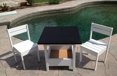 $4 chairs with chalkboard top storage table | Do It Yourself Home Projects from Ana White