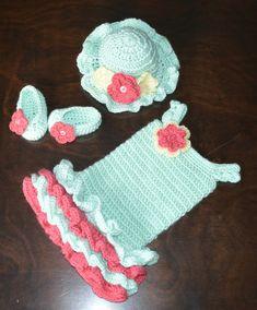 Crochet Easter Sun Hat & Matching Tutu Dress by CubbyCreations, $80.00