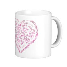 Love in PInk Coffee Mug Gift idea for mother on Mother's Day. Love in PInk #pink #heart #valentinesday  #mothersday #giftformother #mothersdaygifts #pink #heart #lovetext #love