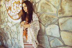 Crochet scarf by Anna Kosturova as featured in Planet Blue lookbook.