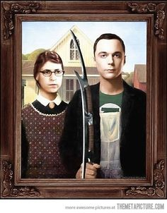 Nerd American Gothic Big Bang Theory Sheldon and Amy