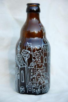 Hand painted beer bottle - Small town