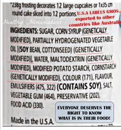 This is the back of a frosting package in Australia, manufactured in the U.S.A. with GMO labeled. We all deserve the right to know what our food is made of.