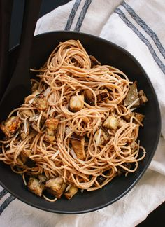 {Roasted eggplant spaghetti with miso brown butter sauce.}