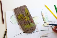 Brown felted eyeglass case with primitive picture of by Renefelt, $15.00