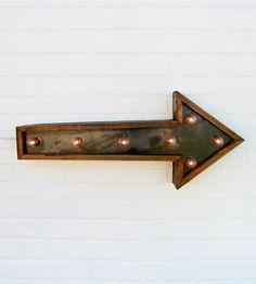 Small Arrow Marquee Light | Home Lighting | Against the Woodgrain |