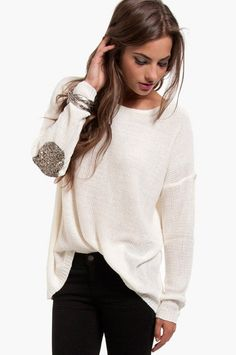 big sweater with sequin elbow patches