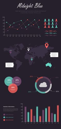 Free Infographic PSD Template – Midnight