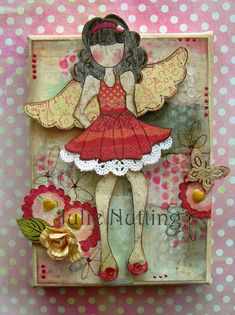 Ranger Claudine Hellmuth Acrylic Paint - Traditional Tan & Classic Teal, Prima 6x6 Pad - Believe, Prima 6x6 Pad - Forever Young, Prima 12x12 Ledger Pad, Riley Doll Stamp 910273, Olive Doll Stamp 910259, Punchinella, Prima Divine Roses 565282, Liquid Pearls, Chalk Edgers - White, Rusty Bucket, Dry Sand and Vintage Pink. Enamel Hearts available end of July