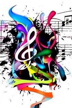 Colored music notes made into a art peace
