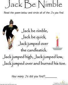 Worksheets: Find the Letter J: Jack Be Nimble